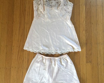 Pale pink camisole and tap shorts set