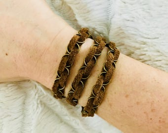 Brown suede wrapped bracelet