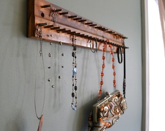 Jewelry hooks Purse Organizer Tie storage Upcycled piano antique old rustic