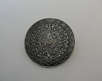 Vintage Sterling Silver Mexican Calendar Medallion Brooch and Pendant