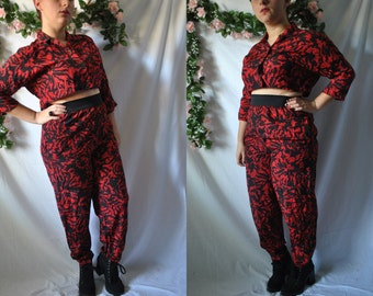 Vintage 80s Crop Top And Pants Set 80s Outfit Vintage High Waisted Pants New Wave Pantsuit Red And Black Punk Jumpsuit 80s Slouchy Pants