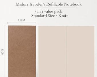 Pack of 3 Midori Insert/Kraft Cover/Kraft insert /Paper Refill for Traveler's Notebook/Standard size/Kraft paper refill