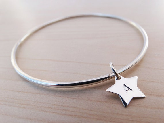 Silver Star Bangle With Initials, Sterling Silver