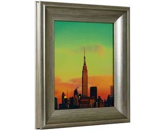 "Craig Frames, 13x19 Inch Brushed Silver and Black Picture Frame, Marcello, 2"" Wide (8178693981319)"