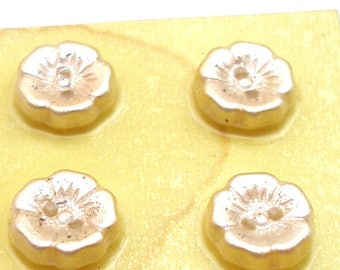 "6 Czech Glass Buttons, Frosted cream glass flowers, 7/16"". Unused."