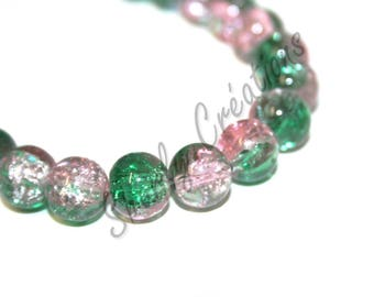 20 10mm light pink and green Crackle glass beads