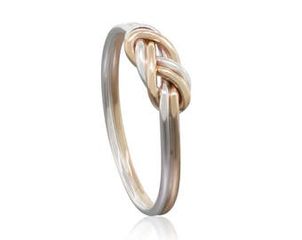 Gold and Silver Climbing Knot Ring - Mothers Day Gift - Celtic Knot Minimalist Ring - Engagement Ring - Dainty ring