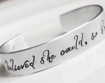 Personalized Cuff Bracelet Graduate Gift She Believed She Could So She Did Inspirational Motivational Cuff Bangle Gift for Her Graduation