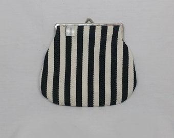 Black & White Clutch, Vegan Clutch, Black Kiss Lock Purse, Fabric Clutch, Kiss Lock Clutch, Metal Frame Purse,  Clutch Purse, Gift For Her