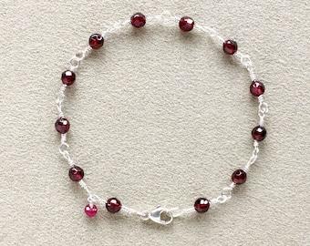Garnet, Ruby Bracelet, Sterling Silver Wire Wrapped, Beaded Bracelet, Natural Gemstones, Meditation Bracelet, Yoga gift