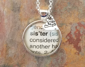 Sister vintage dictionary word glass dome pendant with heart charm