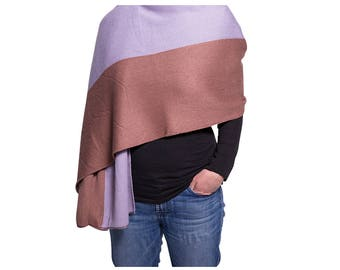 Purple and Mauve Colorblock Scarf, Extra long winter scarf, knit scarf, wrap, shawl, colorblock scarf, purple and brown, winter scarf