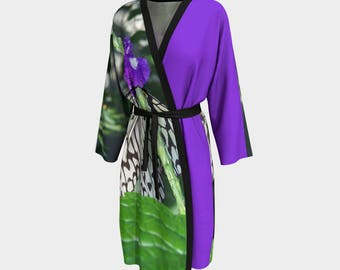Rice Paper Butterfly, Peignoir, Robe, Wedding Robe, Bridesmaid Robe, Bathrobe, Housecoat, Wrap, Cover up, Beach Cover up, Butterfly Robe