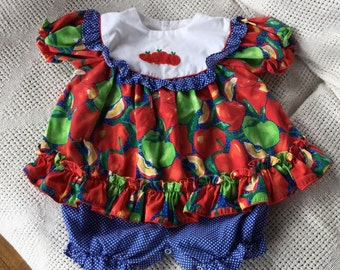 Vintage Baby Girl Outfit - Vintage Romper - Vintage Jumper - Apples and Ruffles - Size 6 to 9 months