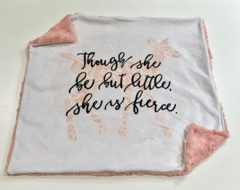 Though she is Little She is Fierce Baby Girl Blanket, Lace Deer Minky Baby Blanket, Pink Deer Baby Blanket, Baby Shower Gift, Ready to Ship