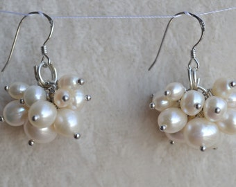 Pearl Earrings - 3-9mm Freshwater ivory Pearl earring ,Pearl Dangling Earrings, 925 Silver earring,pearl cluster earrings,wedding earrings