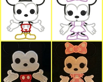 Pop Mickey AND Minnie - 2 design pack! - 4x4, 5x7 and 6x10 in 9 formats - Applique - Instant Download - David Taylor Digitizing