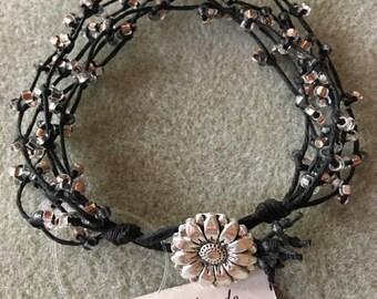 Black waxed linen bracelet