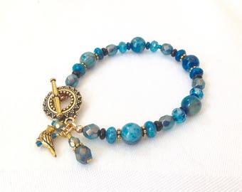 Bracelet en Perle Agate bleue pour femme, Bracelet en pierres précieuses Boho, Bracelet de charme Bohème bijoux en perles, cadeau d'anniversaire pour elle, Bracelet Boho