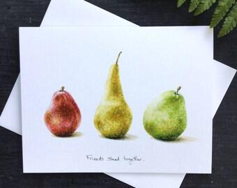 Three Pears - Greeting Card