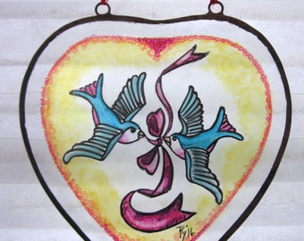 Swallows- Leaded Glass, Window Decor, Gift For Couples, Wedding Gift, 1950s Tattoo Art