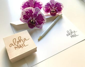Aloha Mail Rubber Stamp, Aloha, Happy Mail, Hawaiian Stamp, Handlettered, Stamp, Sent With Love, Fun Mail, Mail Stamp, Love Stamp
