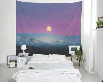 Icelandic moon under purple sky wall tapestry, Moon tapestry Landscape photography Fabric wall art, Birthday gift, Outdoor wall decor. SV094