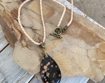 Plum Blossom Jasper and leather necklace