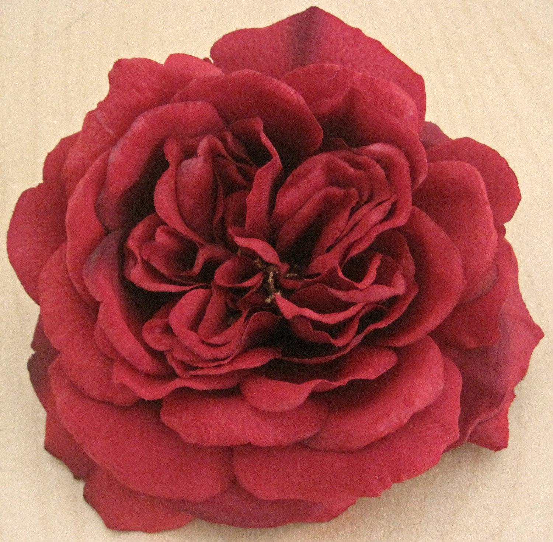 Large Deep Red Silk Flower Rose Brooch Pin