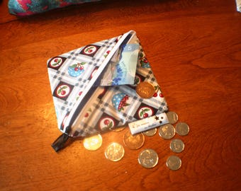 Cherries purse, wallet child, adult wallet, card purse, pouch, holder worn cherry Mint, gray Plaid