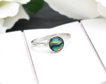 Sterling Silver Paua Shell Ring, Silver Shell Ring, Silver Abalone Ring, New Zealand Ring