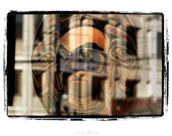 10 x 13 Print Special Window Reflection Indian Mask and Building Fine Art Print 8 x 10 by Jonah Gilmore