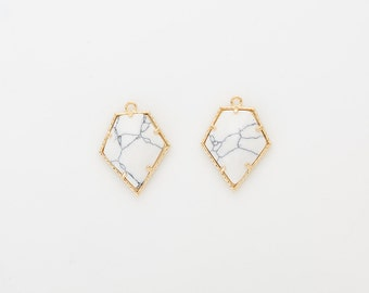 Howlite Pentagon Gemstone Pendant, White Marble Charm Polished Gold -Plated - 2 Pieces [G0143-PGHW]