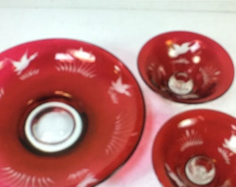 3 Piece Etched Red Glass Bowl and 2 Pedestal Candlestick Holder Set