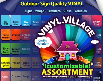 """4 rolls 6""""x5'feet Adhesive Backed Vinyl YOU PICK COLORS Outdoor sign quality, Craft cutter wraps, tumblers, glass, vehicle lot vinyl_village"""