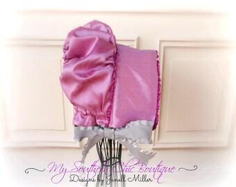 Baby bonnet- Silk Bonnet- Purple bonnet- Lilac bonnet- Toddler Bonnet- Newborn- Photo prop- Newborn Photo Prop-Floral Headband- Baby girl