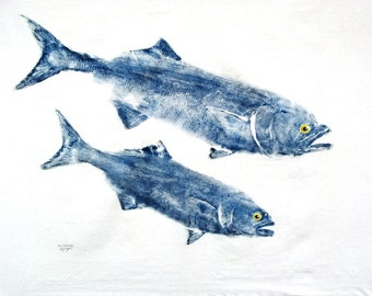 GYOTAKU fish Rubbing Two Bluefish 8.5 X 11 Fisherman Gift quality Salt Water Art Print by artist Barry Singer