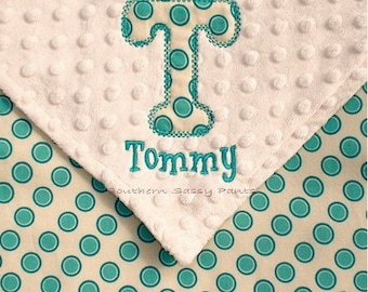 Personalized Baby Boy Blanket - Applique Initial and Embroidered Name