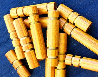 Wood beads, Customizable, 11 pieces, Mustard, hand carved