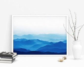 Blue Mountains - Misty Mountain Photography, Mountain Print, Blue Fog Mountains, Landscape Prints, Instant Download Digital