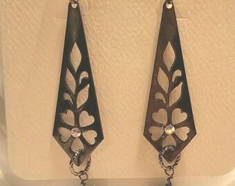 Earrings Pale Green Swarovski Crystal on Gunmetal Filigree.