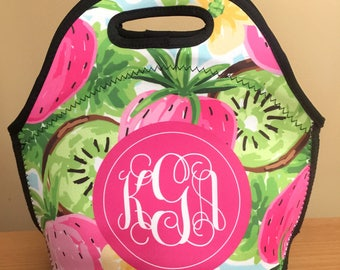 Monogram Lunch Bag - Lunch Bag for Women - Lilly Pulitzer Inspired Lunch Bag - Gift For Her - Personalized Lunch Tote