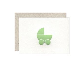 Pram (green) letterpress card - single