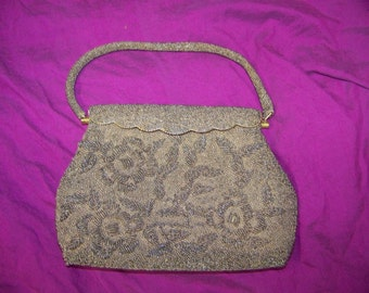 Vintage Taupe Beaded Evening Purse