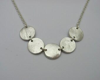 Silver Fingerprint Necklace, Sterling Silver Necklace, Multiple Fingerprints Necklace, Silver Finger Print Necklace, Family Necklace, Memory