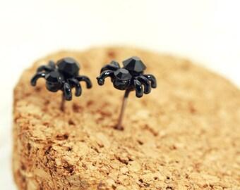 Black Halloween Spider Stud Earrings