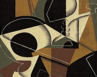 Juan Gris: Moulin à Café et Bouteille. Fine Art Print/Poster. (003118)