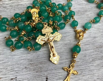 Handmade rosary in seafoam green jade beads with gold center and ornate crucifix - with matching pocket, one decade rosary