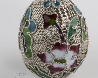Silver-plated copper cloisonné filigree egg-shaped large bead.  38x28mm.  sold individually. b18-500