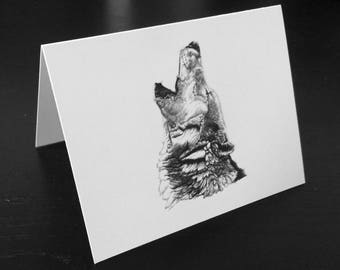 Wolf Notecard - Wild and Free